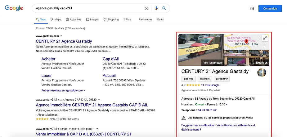 Fiche Google My business - Exemple
