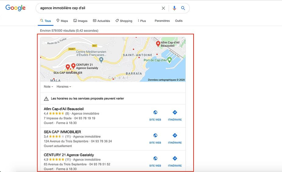Local Pack Google My Business - Exemple