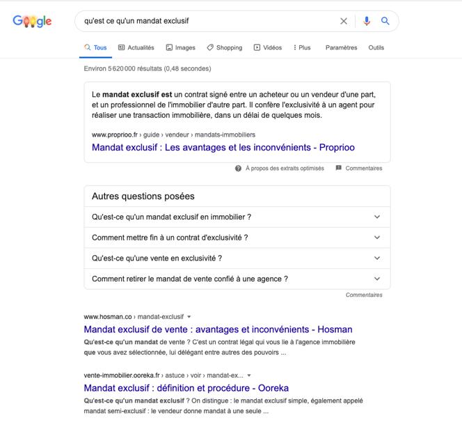 capture d'écran recherche Google