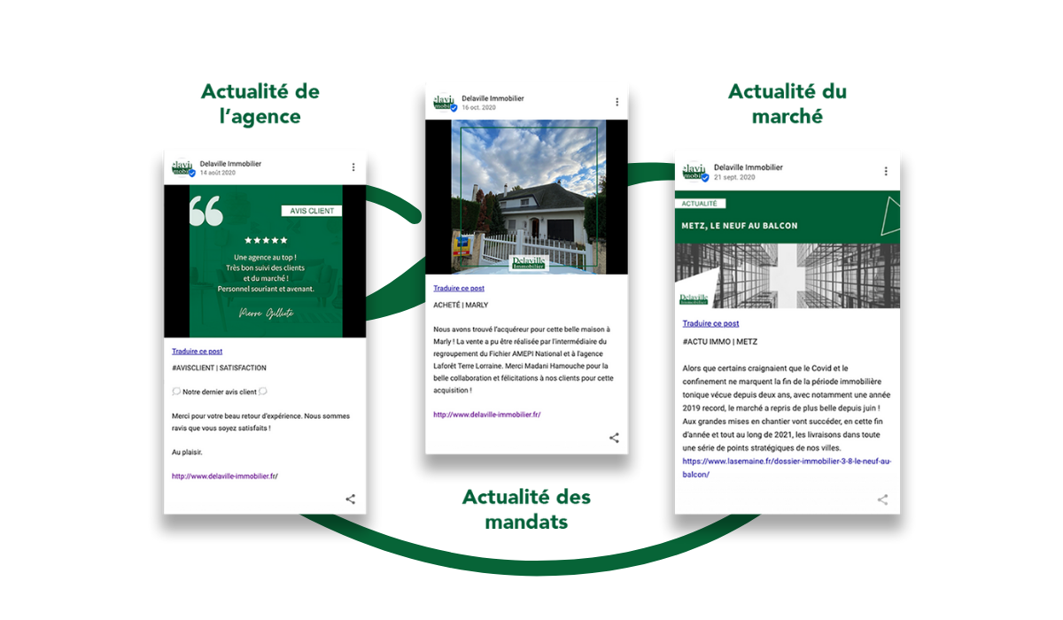 Exemples posts Google My Business Delaville Immobilier